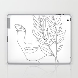 Minimal Line Art Woman Face Laptop & iPad Skin