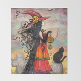 Witch Way Halloween Witch and Cat Fantasy Art by Molly Harrison  Throw Blanket