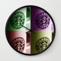 starbucks Wall Clocks featuring Starbucks  by Chris Thaxter