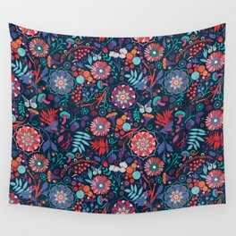 Ripe autumn – cyan and red Wall Tapestry