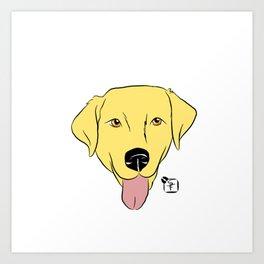 Yellow Lab Face Art Print