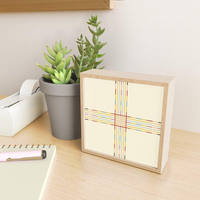 Fine Line Colorful Retro Cross Framed Mini Art Print