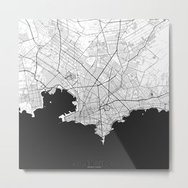 Montevideo Map Gray Metal Print