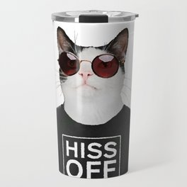Cool Cat with round glasses Travel Mug