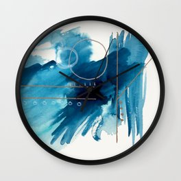 Beneath the Waves Series 2 - a blue and gold abstract mixed media set Wall Clock