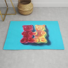 Let's Stick Together - Gummy Bears - Joined at the hip - conjoined twins Rug