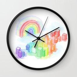 Cityscape Rainbow Wall Clock
