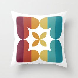 Love Heart Square Flower (Autumn Stripes) Throw Pillow