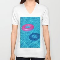 pool V-neck T-shirts featuring Pool by Lama BOO