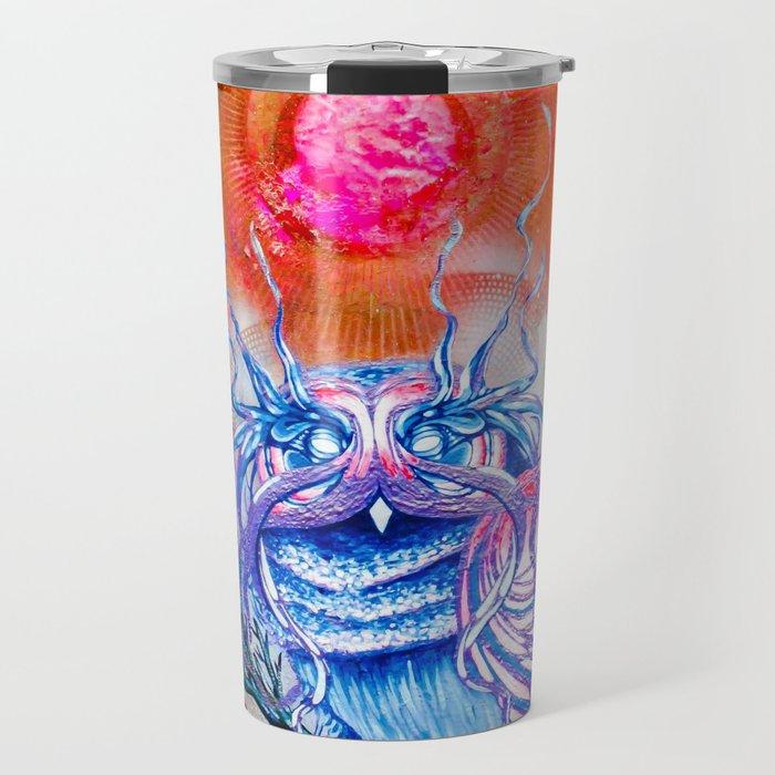"""G0d king owl"" animal art , bird art . Surrealism Travel Mug"