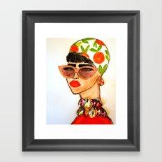 Gems and Citrus Scarf Framed Art Print