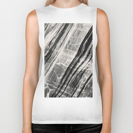 Abstract Marble - Black & Cream Biker Tank