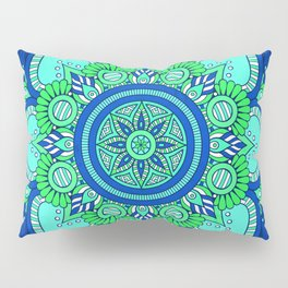 Blue Flower Mandala Pillow Sham