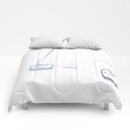 B&W Skilift Poster Comforters