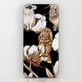 Cotton Flower & Rabbit Pattern on Black 01 iPhone Skin