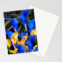 BLACK MODERN ABSTRACT BLUE & GOLD CALLA LILIES Stationery Cards