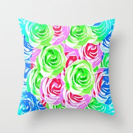 colorful rose pattern abstract in pink blue green Throw Pillow
