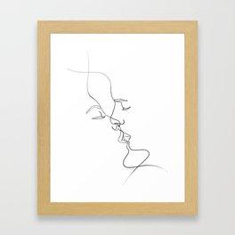 line art kiss Framed Art Print