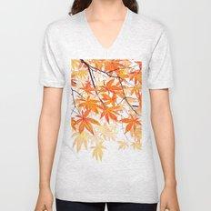 orange maple leaves watercolor Unisex V-Neck