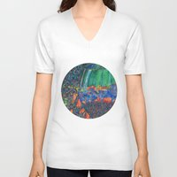 wine V-neck T-shirts featuring Wine Glass by Juliana Kroscen