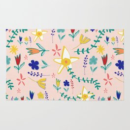 Floral The Tortoise and the Hare is one of Aesop Fables pink Rug