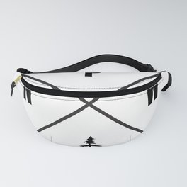 PNW Pacific Northwest Compass - Black and White Forest Fanny Pack