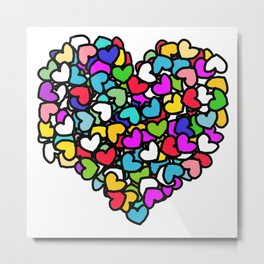 Rainbow LOVE Hearts Metal Print
