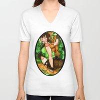 lara croft V-neck T-shirts featuring Lara Croft by Jazmine Phillips