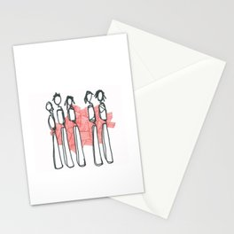 People with Red Lines Stationery Cards
