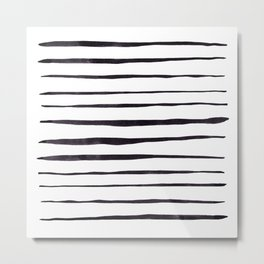 Black Ink Linear Experiment Metal Print