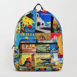 Retro travel mosaic pattern Backpack