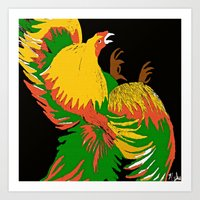 rooster Art Prints featuring Rooster by Saundra Myles