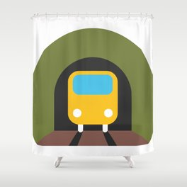 Underground Tunnel Train Emoji Shower Curtain