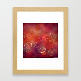 Into the red space surreal bubbles Framed Art Print