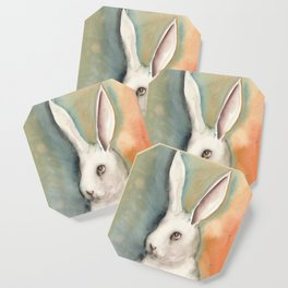 Portrait of a White Rabbit Coaster