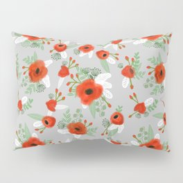 Poppy flower painted pattern floral florals prints poppies red Pillow Sham