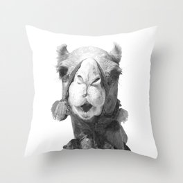 Black and White Camel Portrait Throw Pillow