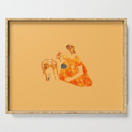 Frida Kahlo with a fawn Serving Tray