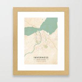 Inverness, United Kingdom - Vintage Map Framed Art Print