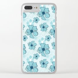 Blue Poppy Bash Clear iPhone Case