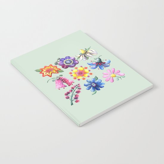 Pretty Flowers All in a Row Green Notebook