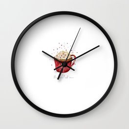 watercolor red velvet cocoa cup Wall Clock