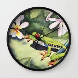 Frog and Plumerias Wall Clock