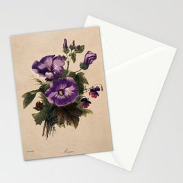 A bunch of flowering mallows and pansies. Coloured lithograph by E. Champin, c. 1850, after herself. Stationery Cards
