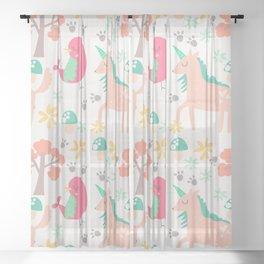 Cute cartoon unicorns & birds pattern Sheer Curtain