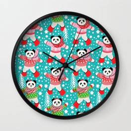 Panda's in Fair Isle Jumpers, Christmas, Thanksgiving, Holidays Wall Clock