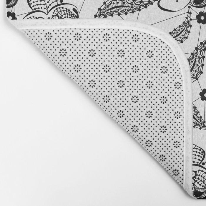 Black vintage lace . Bath Mat