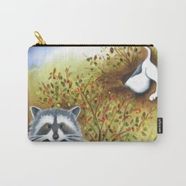 Silly Dog  Jack Russell Terrier, Raccoon, Landscape Painting, Original Art Carry-All Pouch