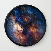 milky way Wall Clocks featuring Milky Way by Zavu