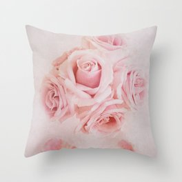 Fine Art Pink Pastel Roses Photography, Flower Throw Pillow